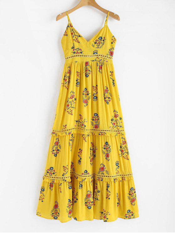 ladies Floral Print Empire Waist Dress - YELLOW L