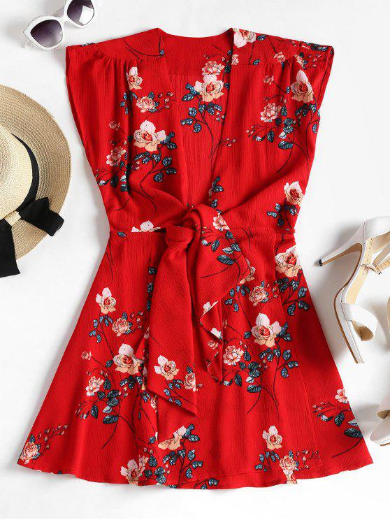 buy Floral Print Tie Front Dress - LOVE RED M