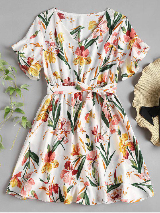 outfit V Neck Ruffle Floral Print Tea Dress - WHITE XL