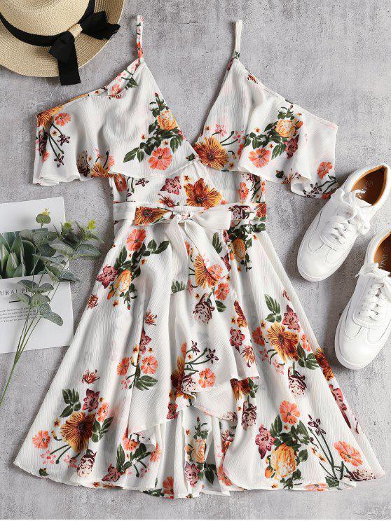 unique Cold Shoulder Faux Wrap Floral Mini Dress - WHITE M