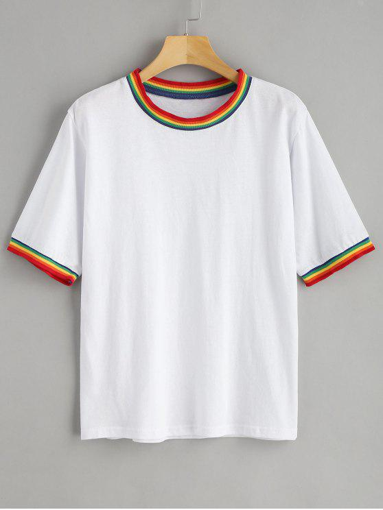 868cc8f90 31% OFF] 2019 Rainbow Retro Ringer Tee In WHITE | ZAFUL