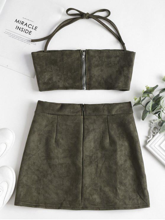 Faux Two M Set Halter Skirt Army Piece Top Green Suede rwRpr7