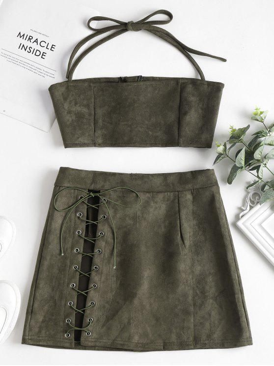 7d61815b872 22% OFF  2019 Faux Suede Halter Top Skirt Two Piece Set In ARMY ...