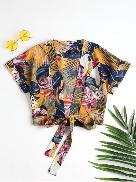 Tie Front Tropical Top - بني ذهبي L
