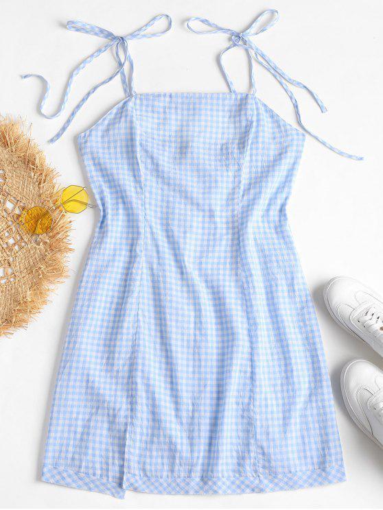 unique Slit Knotted Gingham Mini Dress - PASTEL BLUE S