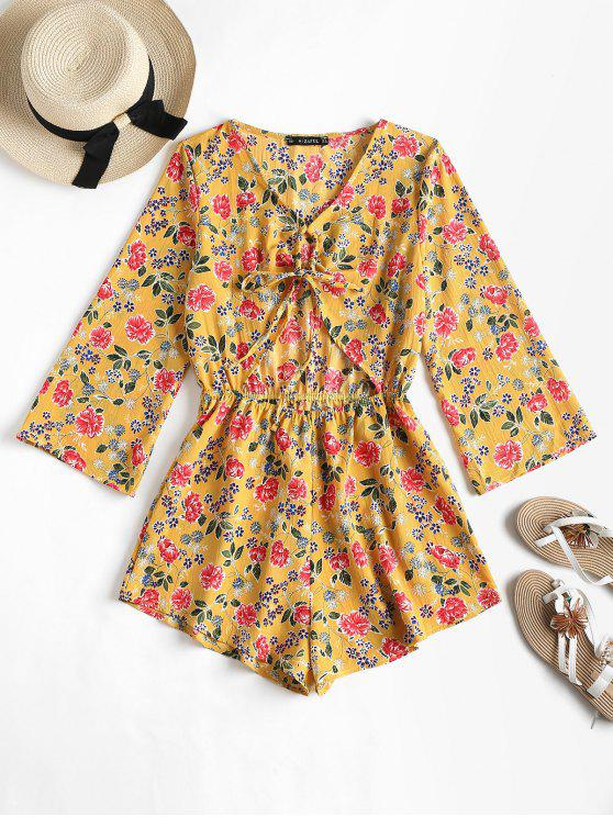 ladies Cut Out Knot Floral Romper - GOLDEN BROWN M
