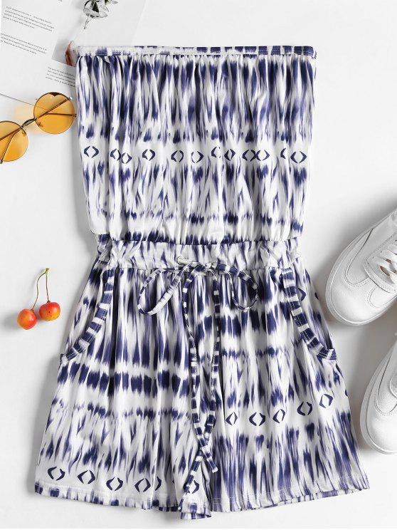 new Drawstring Pockets Tie Dye Strapless Romper - BLUE XL