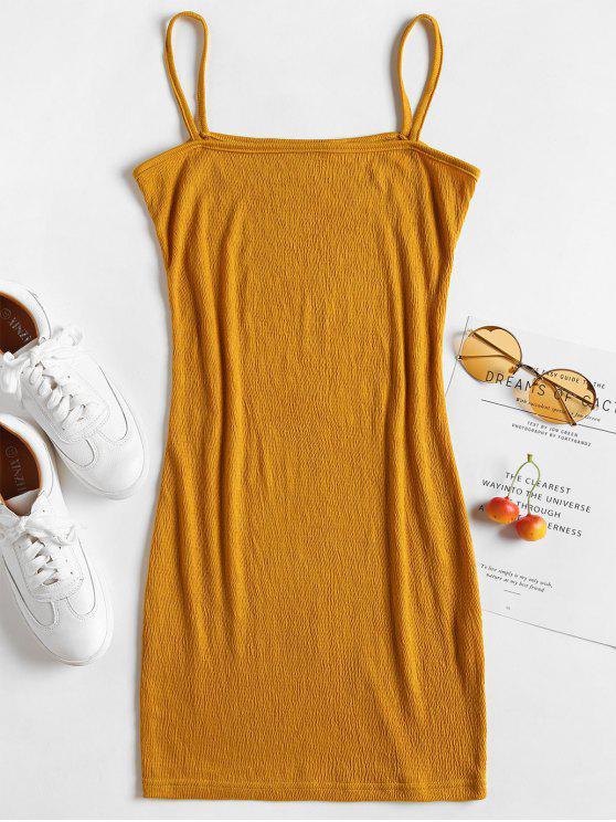 trendy Bodycon Crinkle Mini Cami Dress - MUSTARD M