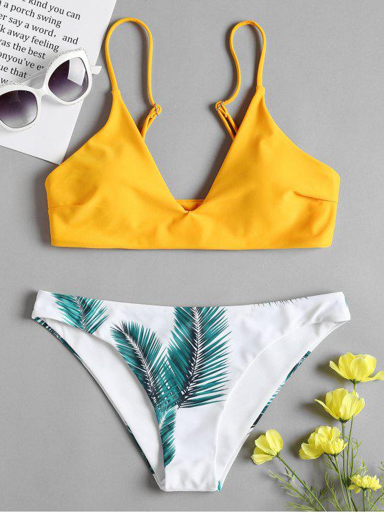 Conjunto de bikini acolchado con estampado de hojas - Amarilla de Abeja  S