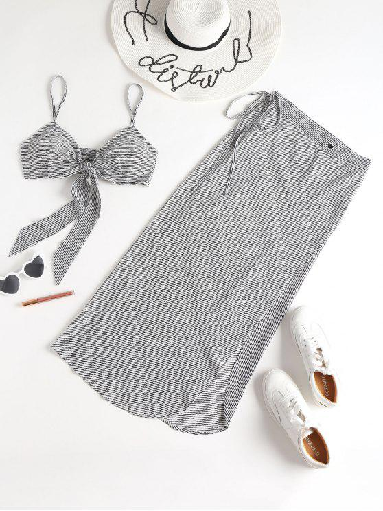 Striped Padded Bralette Top Skirt Conjunto de dos piezas - Multicolor L