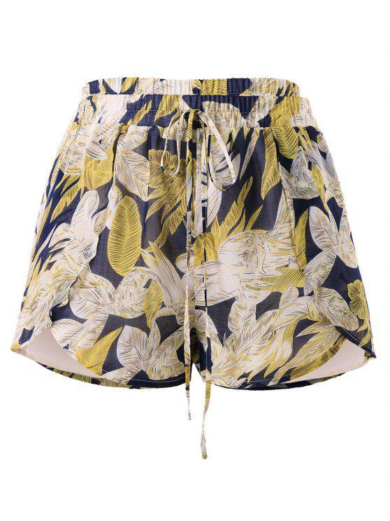 Pantaloncini Annodati Plus Size Con Motivo Di Foglie - Multi Colori L