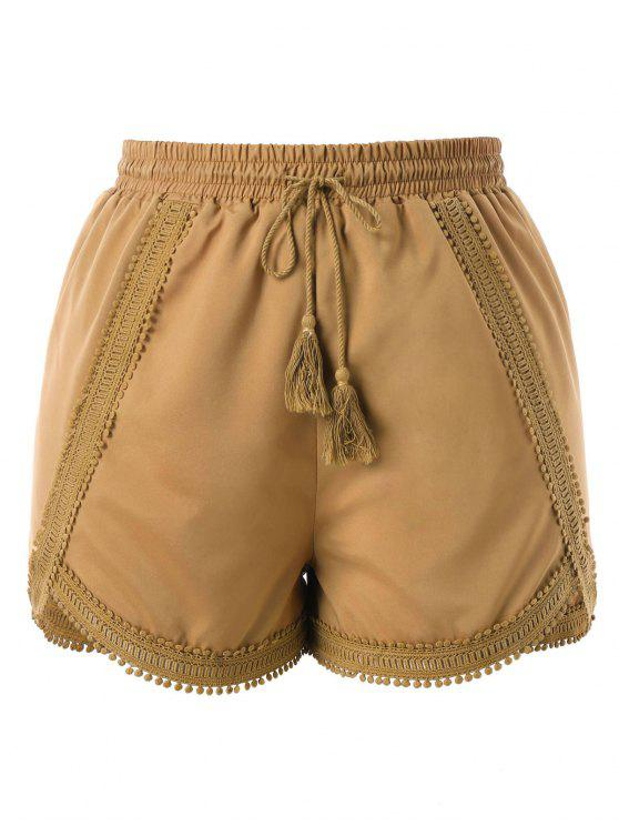 ladies Plus Size Crochet Trim Shorts - CAMEL BROWN 2X