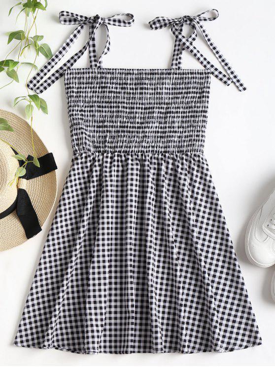 women's Knotted Gingham Mini Dress - BLACK M