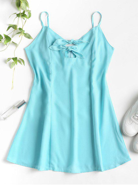 ladies Knots Cut Out Mini Dress - MACAW BLUE GREEN L