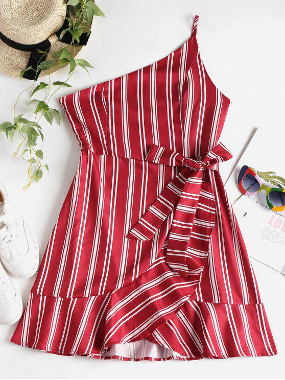 lady Ruffles Striped One Shoulder Dress - CHERRY RED L