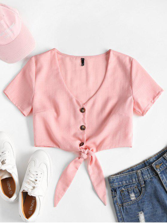 affordable Tie Front Button Up Crop Top - LIGHT PINK L