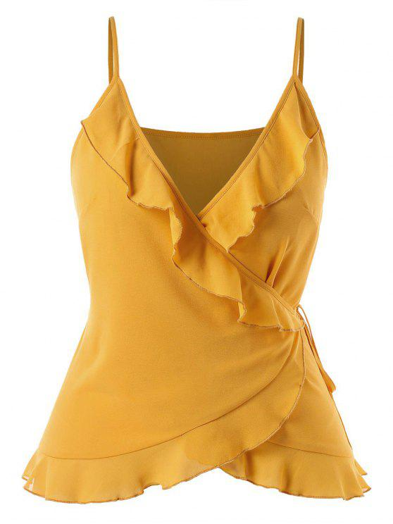 affordable Plus Size Cami Ruffles Wrap Top - MUSTARD 1X