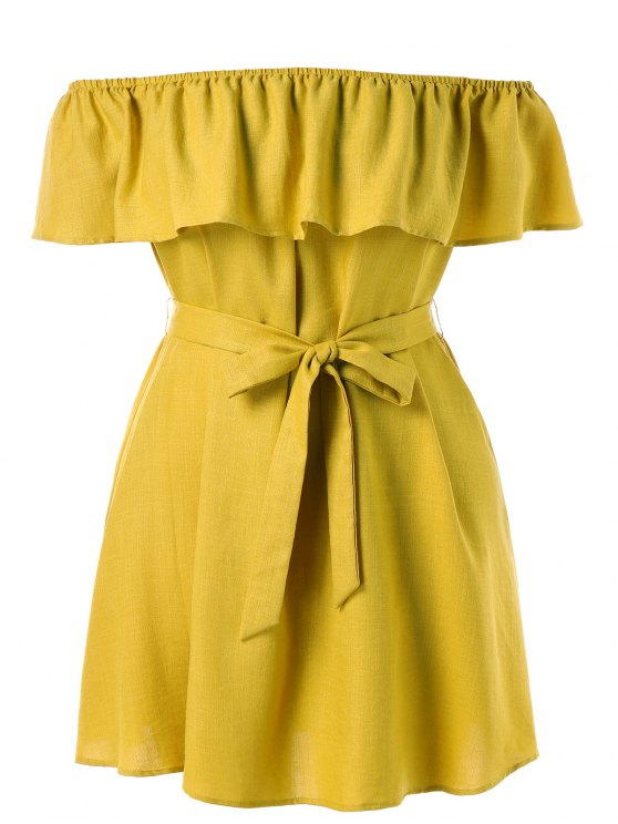 ladies Plus Size Off Shoulder Belted Dress - SUN YELLOW 3X