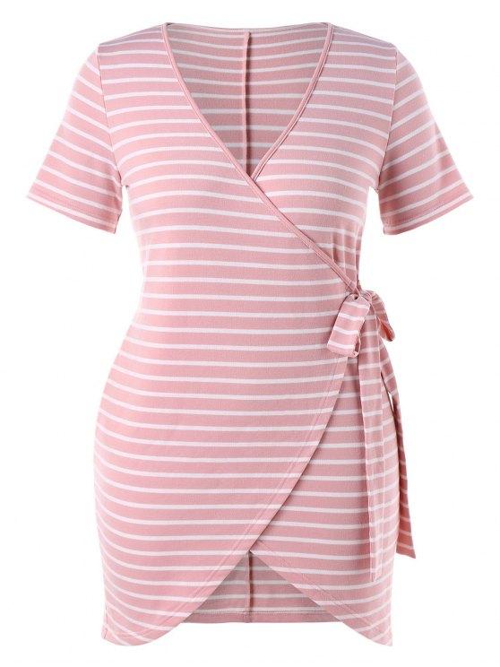 Robe de Grande Taille à Rayures et à Cordon - Rose Léger  2X