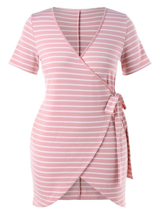 sale Plus Size Striped Tied Dress - LIGHT PINK 2X