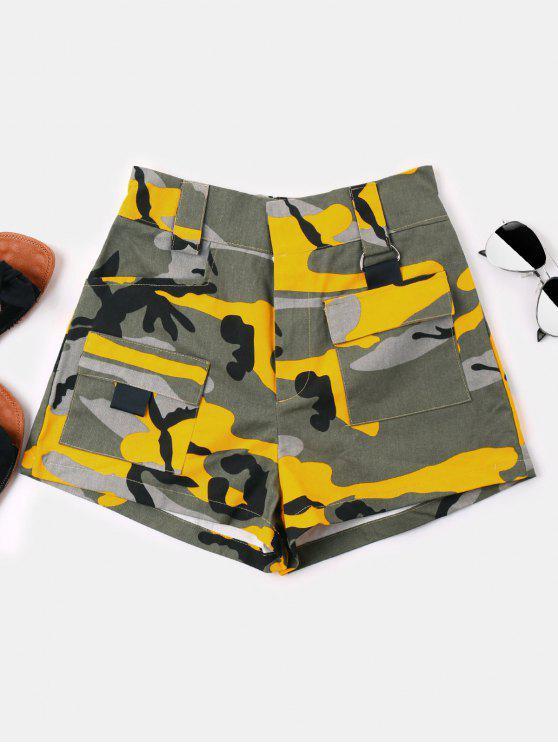 Shorts de Cintura Alta Camuflagem - Verde de Camuflagem L