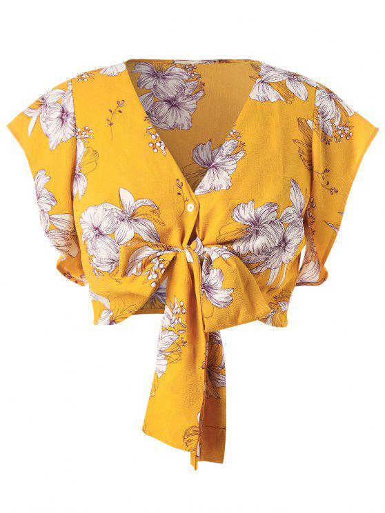 sale Plus Size Flower Crop Bowknot Blouse - BRIGHT YELLOW L