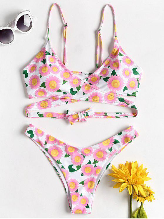 Abrigo Daisy Floral Bikini - Rosa Brillante L