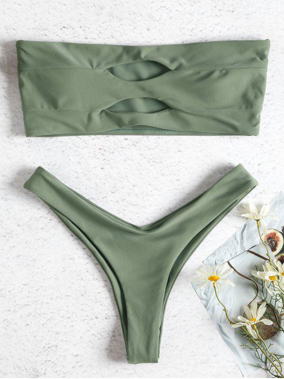 Ausgeschnitten Bandeau Hohes Bein Bikini - Tarnanstrich Grün M