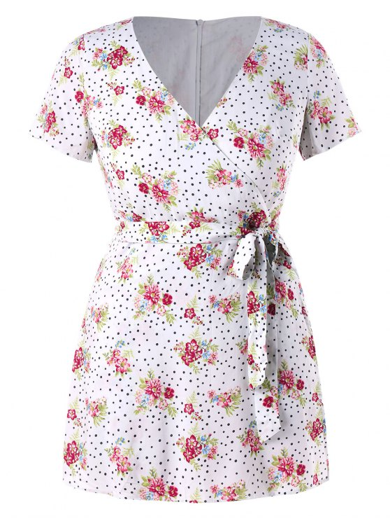 Plus Size Floral Dots Belted Romper - Branco 1X