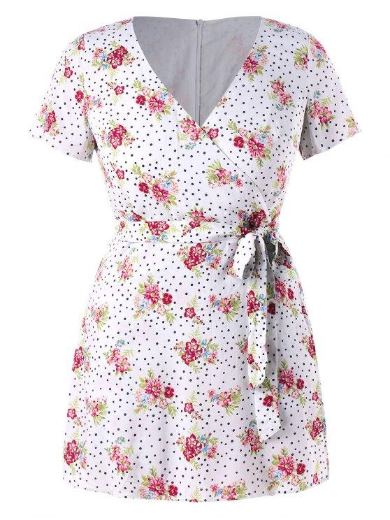 Mameluco con cinturón de puntos florales - Blanco 3X