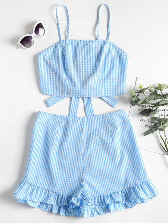 chic Gingham Cami Top and Shorts Two Piece Set - SEA BLUE L