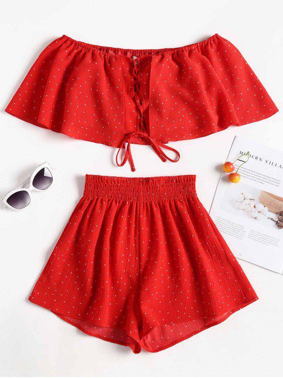Conjunto a juego de lunares y pantalones cortos con lunares - Amo Rojo S