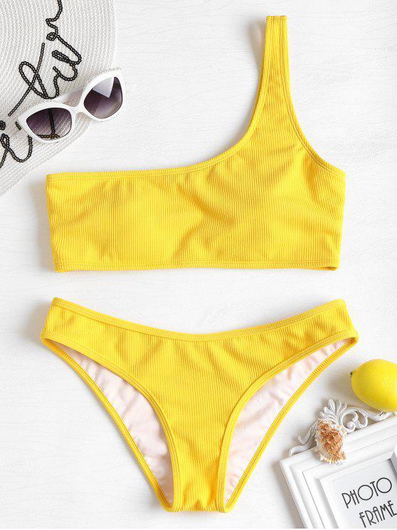 Bikini en Ensemble Nervurré et à une Epaule - Jaune S