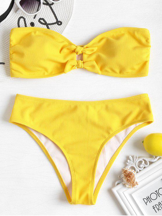 Geripptes Schleife Bandeau Bikini Set - Niedliches Gummi Gelb S