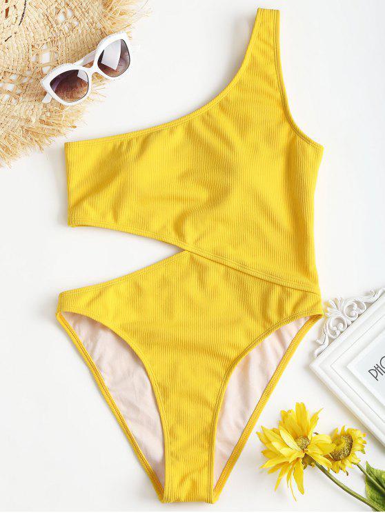 Gerippter Ausgeschnittener Eine-Schulter-Badeanzug - Gelb S