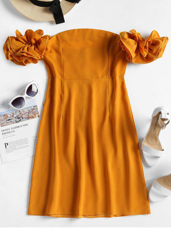unique Dramatic Ruffle Sleeve Off The Shoulder Dress - MUSTARD XL