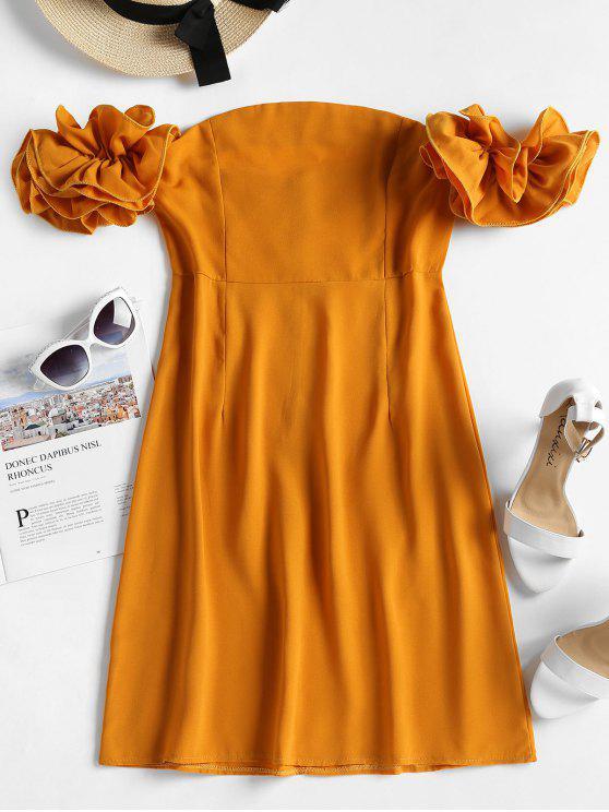 Manga plissado dramática fora do vestido de ombro - Mostarda L