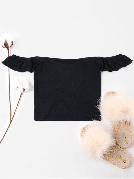 T-shirt Nombril Exposé Epaule Dénudée en Tricot - Noir M