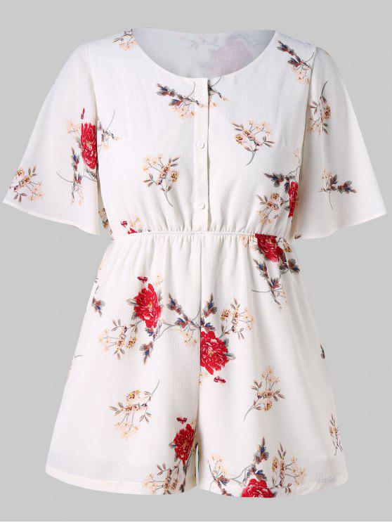 buy Plus Size Casual Flowers Print Romper - WHITE L