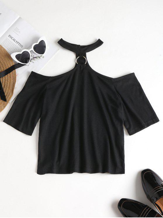 shop Ribbed Choker Top - BLACK M