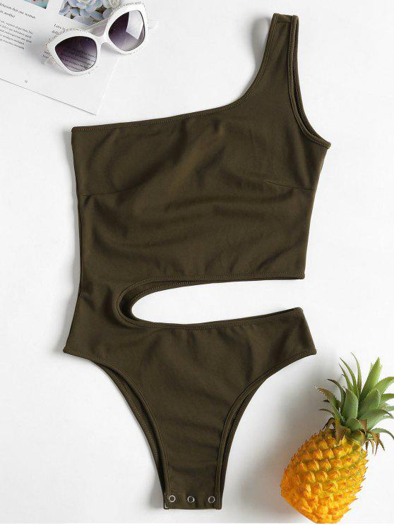 One Shoulder Cut Out Bodysuit   Army Green S by Zaful