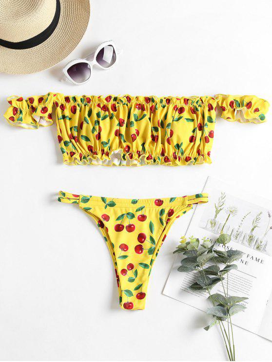 hot Off Shoulder Cherry Frilled Bikini Set - YELLOW M