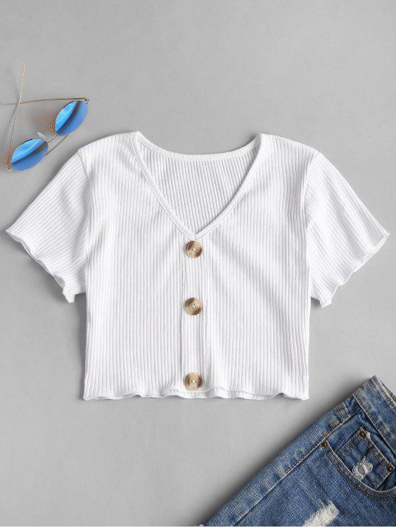 fashion Buttons Ribbed Cropped Top - WHITE L