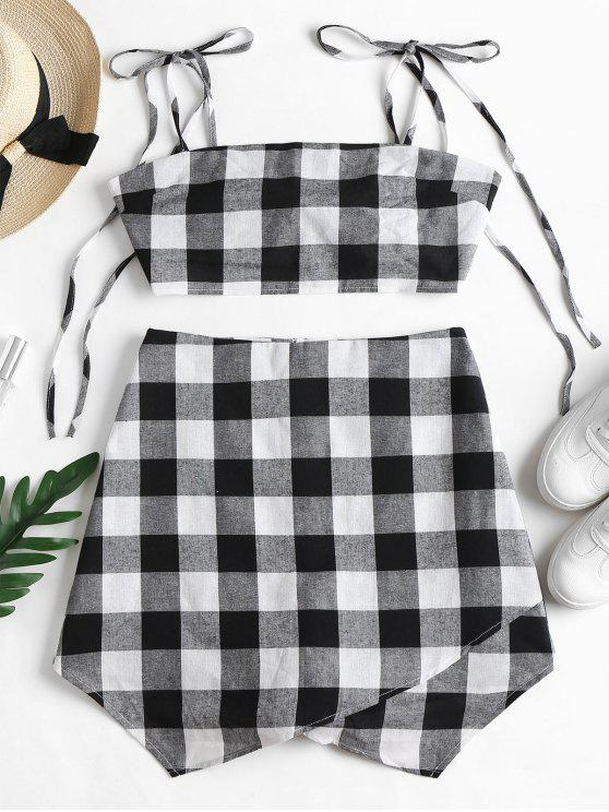 best Knotted Plaid Top and Skorts Set - BLACK M