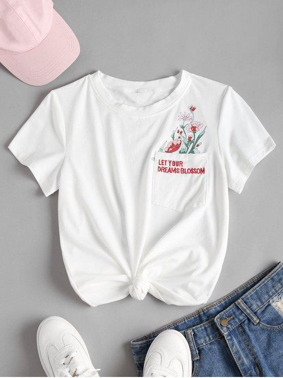 floral knotted embroidered tee