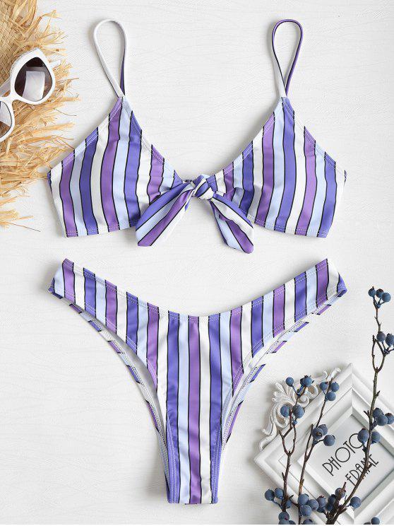 Bikini Noué à Jambes Hautes et à Rayures Contrastées - Pourpre L