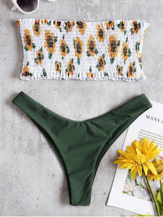 fashion Sunflower Smocked Thong Bikini Set - ARMY GREEN L