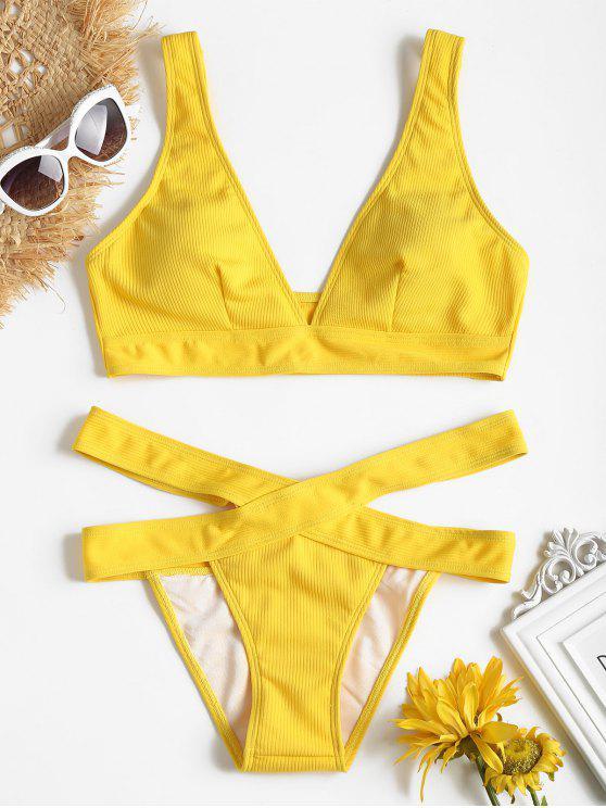 Plunge Midi Bikini parte superior y parte inferior del vendaje - Amarillo M