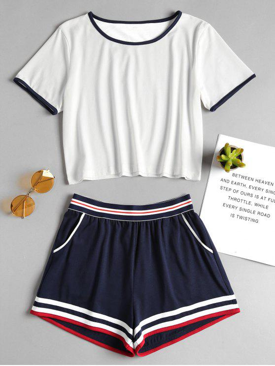 outfit Ringer Tee and Elastic Shorts Two Piece Set - WHITE M