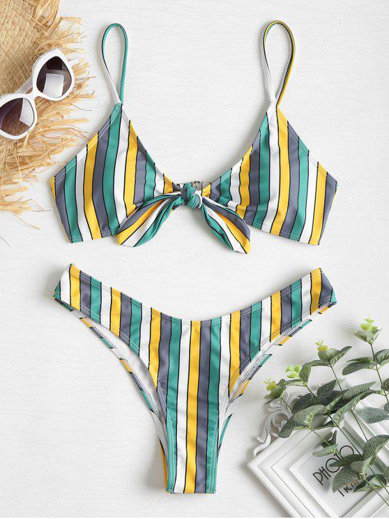 outfits Contrast Stripe Knotted High Leg Bikini - GREEN L
